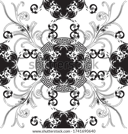 Baroque white color with greek design flowers leaves seamless pattern design