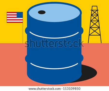 Barrel of oil with United States flag and oil well in the background