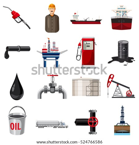 barrel oil production icons set