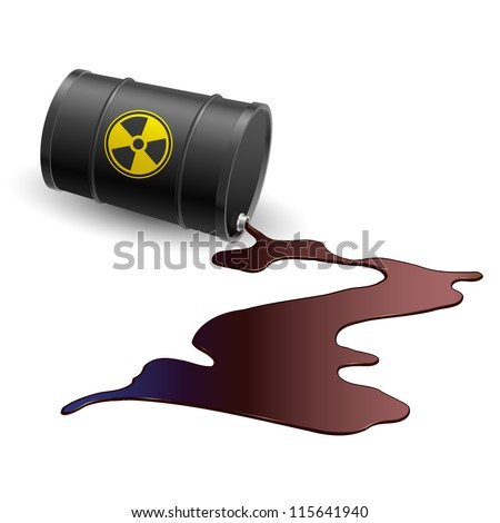 Barrel throwing toxic liquid. Illustration on white
