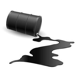 Barrel with spilled black liquid. Illustration on white