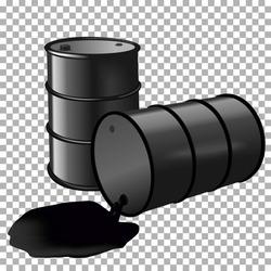 Barrel with spilled black liquid on transparent background