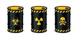 Barrels of waste vector illustration. Biohazard waste, Radioactive waste, Toxic waste.