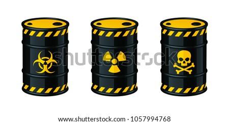 Stock Photo Barrels of waste vector illustration. Biohazard waste, Radioactive waste, Toxic waste.