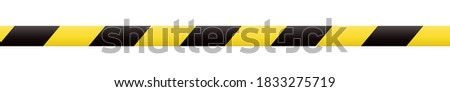 Barricade tape. Boundary line. Yellow and black barrier tape. Construction border