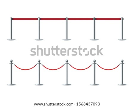 Barrier ropes for exhibition show vector illustrations set. VIP ceremony, luxury party entrance obstacles isolated on white background. Red carpet event, museum exhibits protective barrier