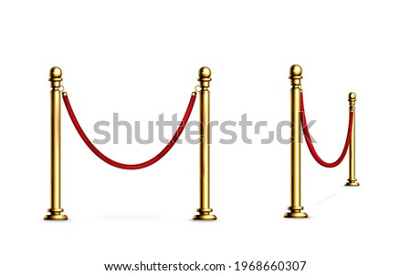 Barrier with rope and gold poles, fence for red carpet or vip event, museum or gallery stanchion, night club entrance security fencing isolated on white background, Realistic 3d vector illustration Stockfoto ©