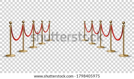 Barriers with red rope line. VIP zone, closed event restriction. Realistic image of golden poles with velvet rope. Isolated on transparent background