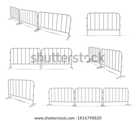 Barriers work zone, pedestrian, construction realistic set. Metal lattice fence protecting road traffic, people. Portable equipment, barricade. Vector barriers isolated on white background. Stockfoto ©