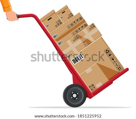 Barrow full of boxes isolated on white. Metallic wheeled trolley with cardboard box. Delivery service and logistics. Hand truck dolly icon. Transportation warehouse. Cartoon flat vector illustration Stock photo ©