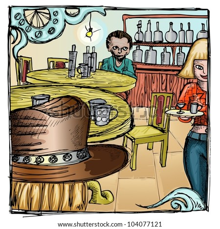 bartender girl in the western bar