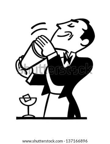 Bartender Mixing Drink - Retro Clip Art Illustration