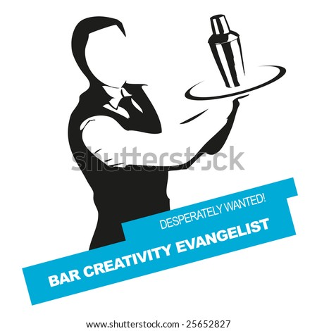 Bartender wanted vector sign