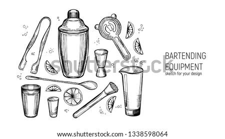 Bartending Equipment set. Shaker, jigger, spoon, mixing glass, muddler, Strainer, ice tongs. Hand drawn sketch.