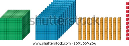 Base ten blocks: ones or units, tens, hundreds, and thousands vector illustration.