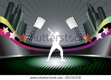 Baseball  abstract vector illustration with player silhouette and stadium background.