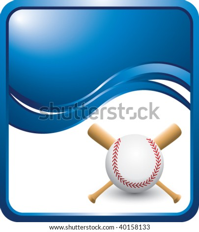 baseball and crossed bats on blue wave background