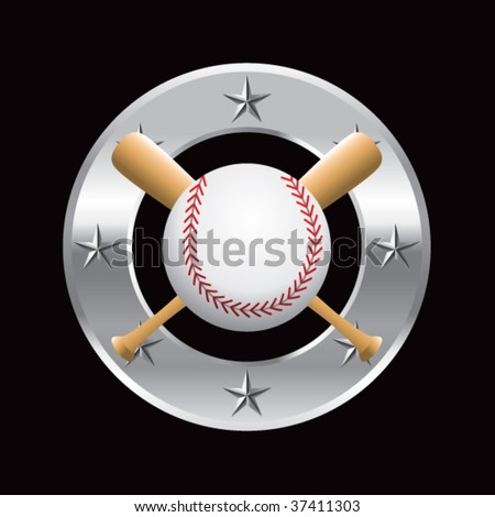 baseball and crossed bats on silver star circle - stock vector