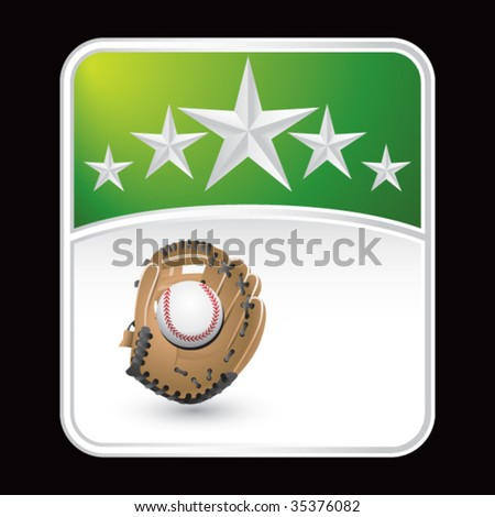 baseball and glove on star background