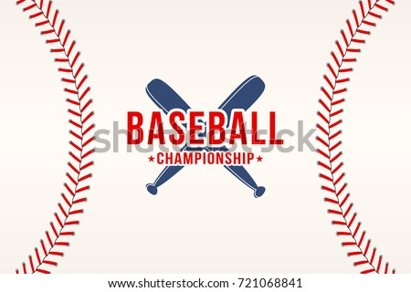 Baseball background. Baseball ball laces, stitches texture with bats. Sport club logo, poster design. Vector