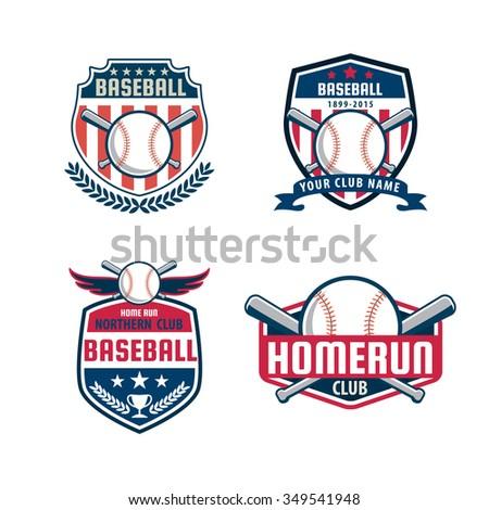 baseball badge set sport logo