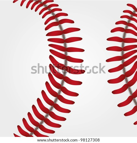 Baseball ball background texture close up, vector illustration