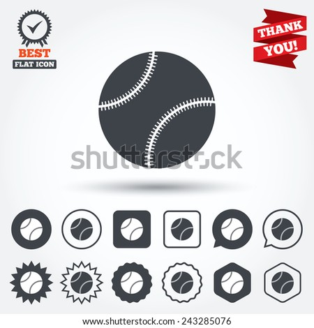 Baseball ball sign icon. Sport symbol. Circle, star, speech bubble and square buttons. Award medal with check mark. Thank you ribbon. Vector