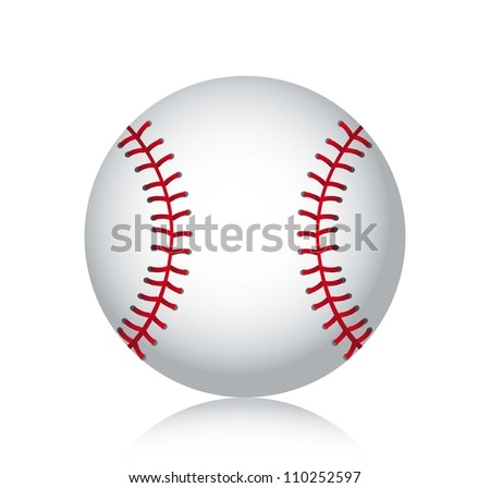 baseball ball with shadow over white background. vector illustration