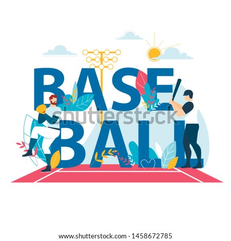Baseball Banner with Typography, Sportsmen Playing at Championship Competition. Pitcher Throw Ball to Batter Hitter on Stadium. Sports Players in Action, Tournament. Cartoon Flat Vector Illustration