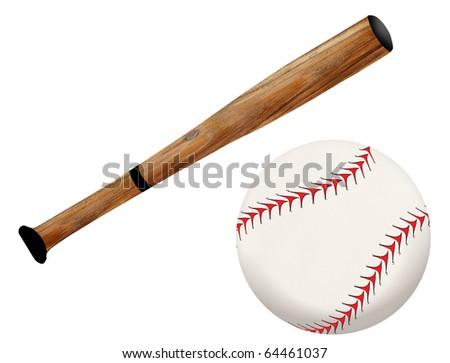 Baseball bat and ball, vector illustration on white background