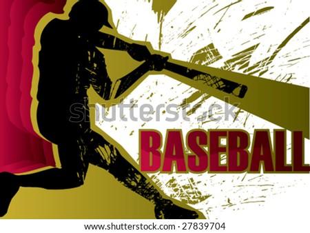 Baseball batter poster. Vector illustration.