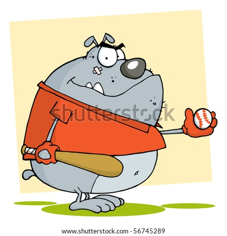Baseball Bulldog Cartoon Character