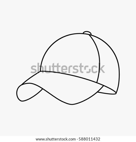 76fbb824387 Baseball cap icon. flat vector illustration isolate on a white background  in a linear style · Baseball sport hat in black ...