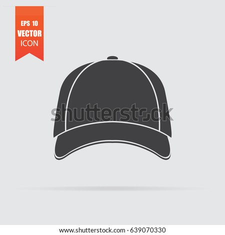 Baseball cap icon in flat style isolated on grey background. For your design, logo. Vector illustration.