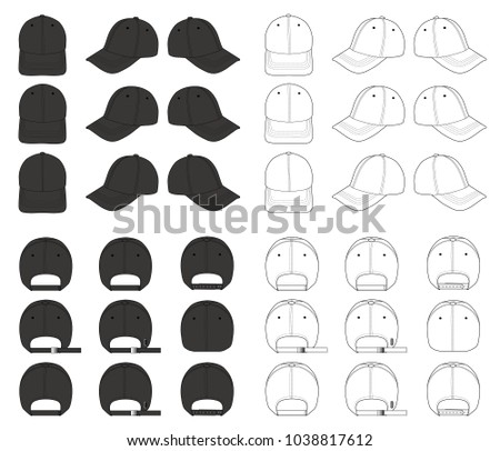 4ee805305f2 Baseball Cap mega vector design pack 2018 illustration flat sketches  template