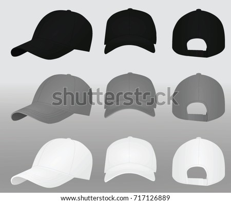 Baseball cap set. black grey and white. vector illustration
