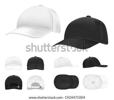Baseball caps. Black and white blank sports uniform headwear in side, front and back view template. Isolated vector hat mockups. Illustration hat baseball black and white isolated
