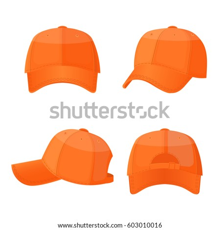Baseball caps in front side and back view isolated on white background. Stylish sportive headwear, athlet accessory which protects head from sun, vector illustration in flat style design