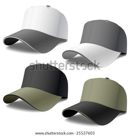 Baseball caps set. Vector.