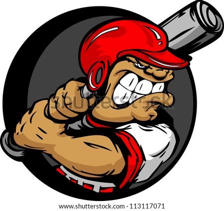 Baseball Cartoon Batter with Helmet and Bat Vector Illustration