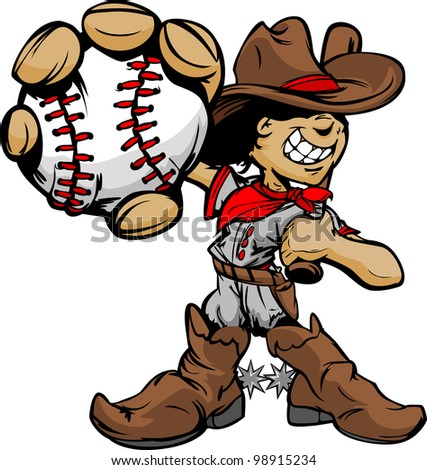 Baseball Cartoon Boy Cowboy Holding Bat Vector Illustration - stock vector