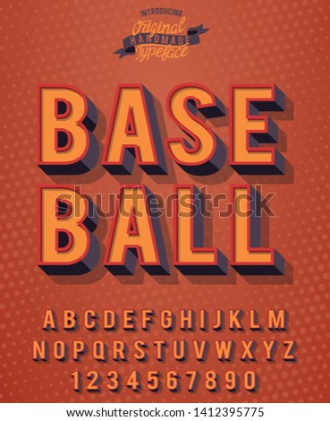 Baseball. 3D vintage sport font. Orange font for sports posters, championships and competitions.
