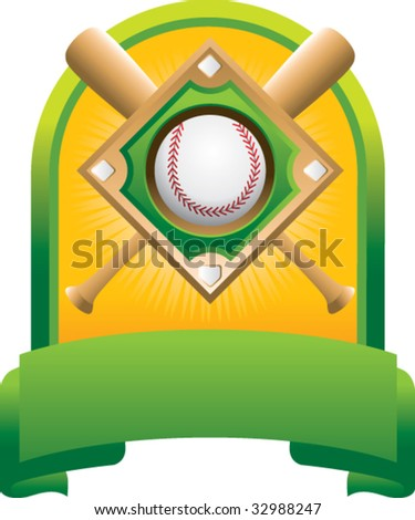 baseball diamond and crossed bats on green display