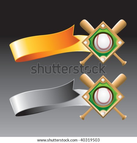 baseball diamond on orange and gray ribbons
