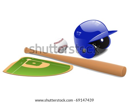 Baseball elements - field, ball and accessories. Vector