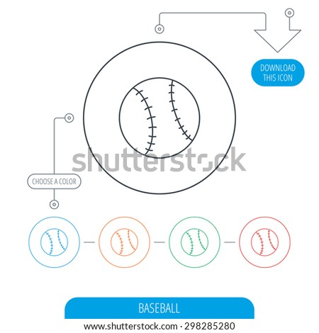 Baseball equipment icon. Sport ball sign. Team game symbol. Line circle buttons. Download arrow symbol. Vector