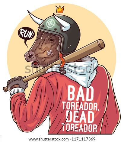 Baseball fan. Fighter with baseball bat. Brutal bull gangster with baseball bat. Swag print for printing on t shirts and tees. Graphic tee and printed tee. Vector illustration on white background