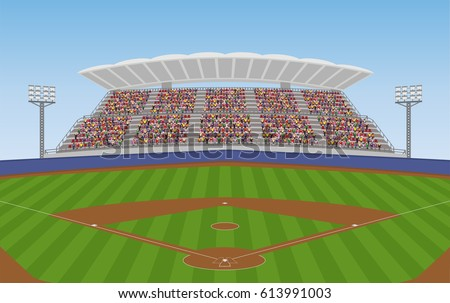 Baseball Field with Crowd on Grandstand. Vector