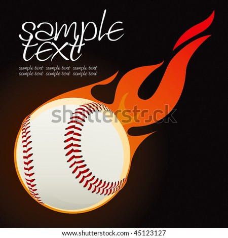 Baseball fire ball vector drawing