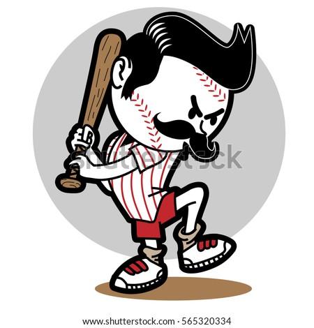 baseball funny boy_ vector